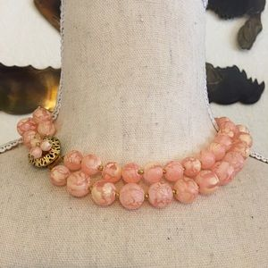 Vintage 50s blush pink frosted bead necklace